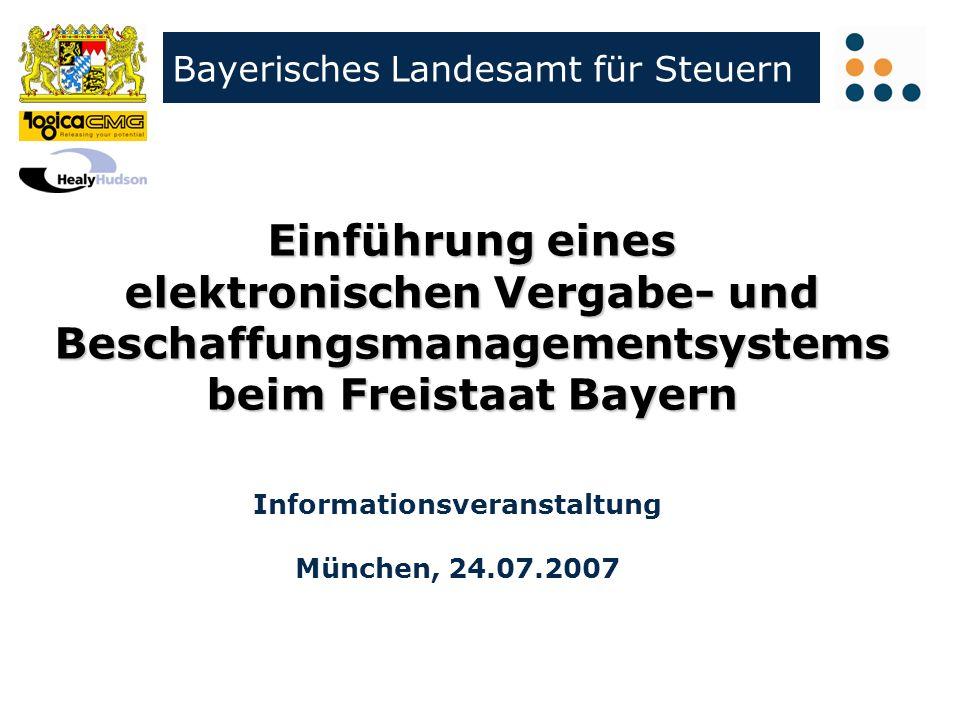 Klicken Sie, um das Titelformat zu bearbeiten Bayerisches Landesamt für Steuern Informationsveranstaltung München, 24.07.2007 Einführung eines elektro