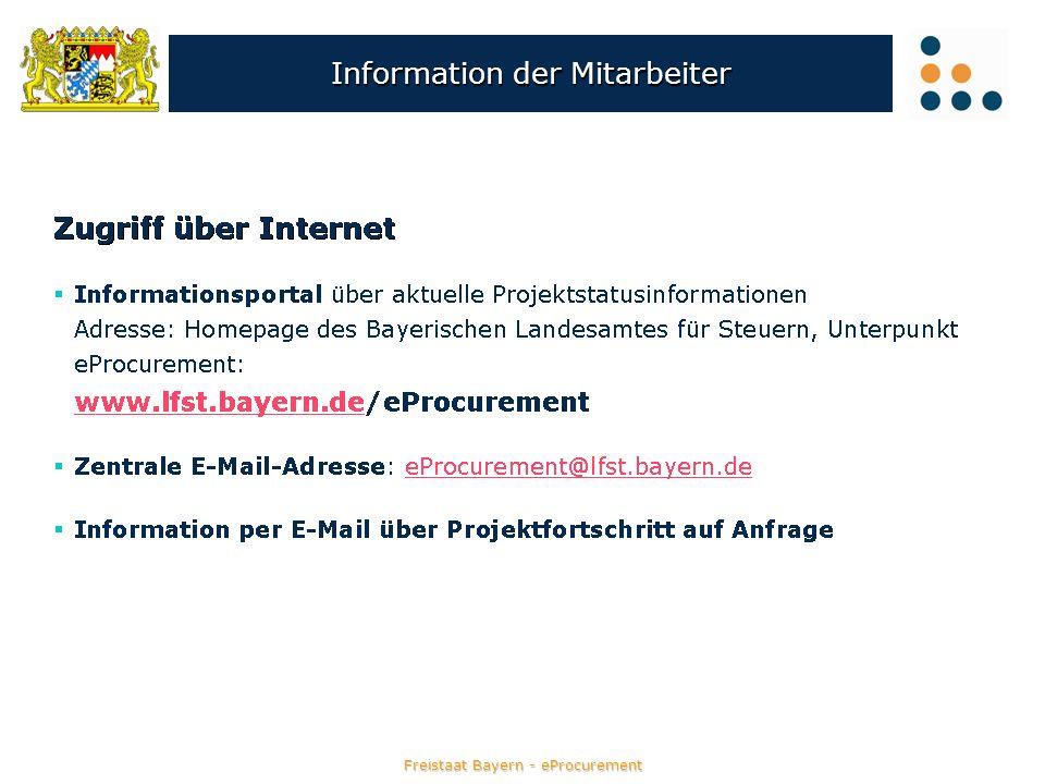 Freistaat Bayern - eProcurement Information der Mitarbeiter