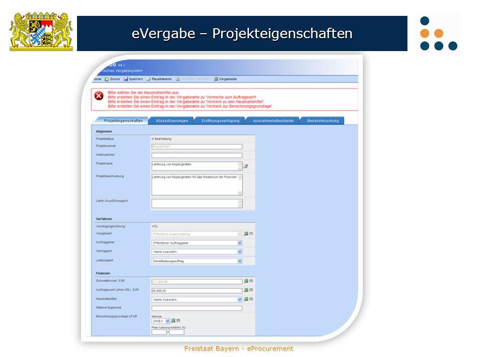 Freistaat Bayern - eProcurement eVergabe – Projekteigenschaften