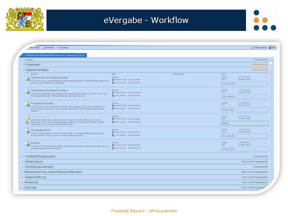 Freistaat Bayern - eProcurement eVergabe - Workflow