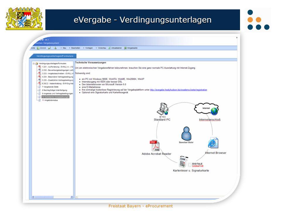 Freistaat Bayern - eProcurement eVergabe - Verdingungsunterlagen