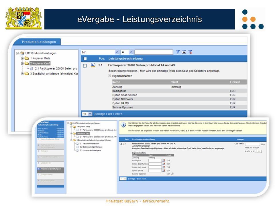 Freistaat Bayern - eProcurement eVergabe - Leistungsverzeichnis