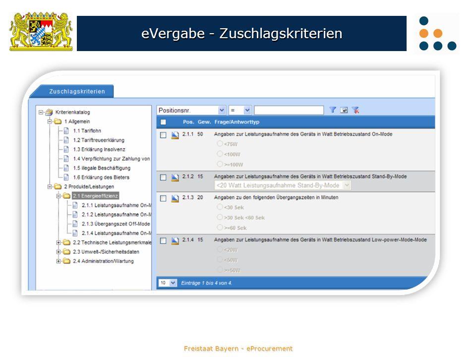 Freistaat Bayern - eProcurement eVergabe - Zuschlagskriterien