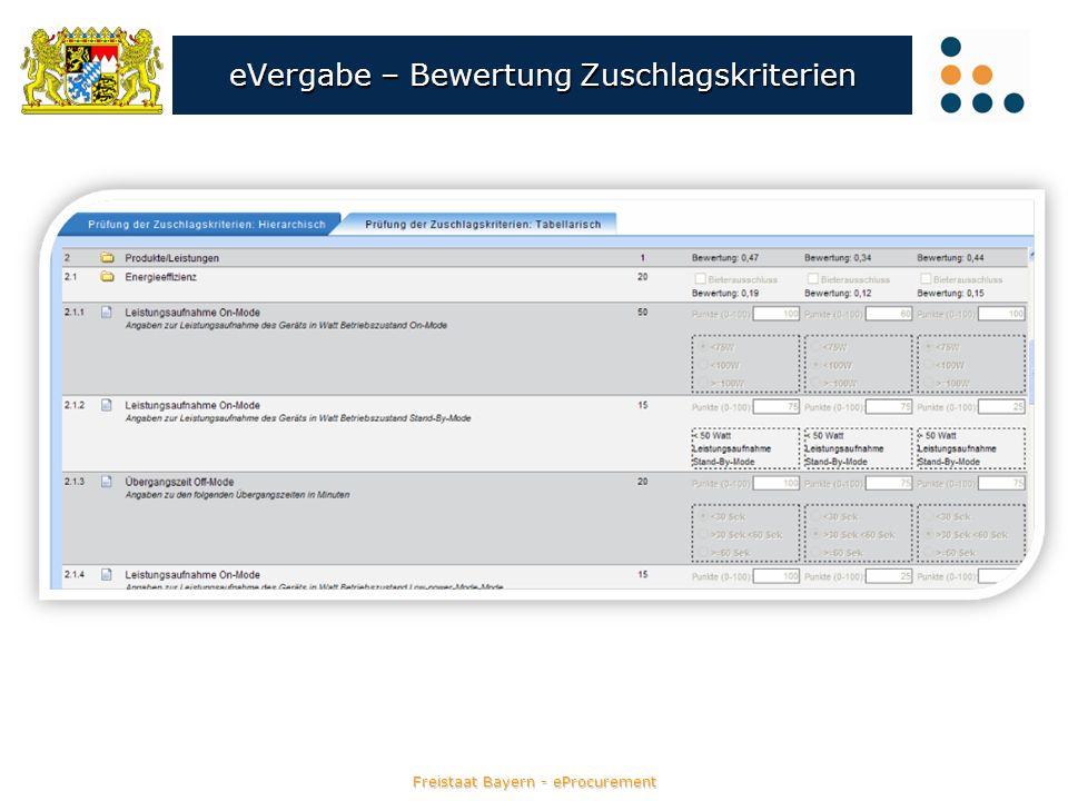 Freistaat Bayern - eProcurement eVergabe – Bewertung Zuschlagskriterien