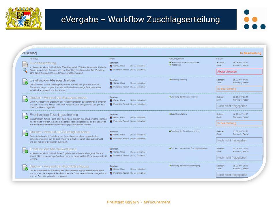 Freistaat Bayern - eProcurement eVergabe – Workflow Zuschlagserteilung
