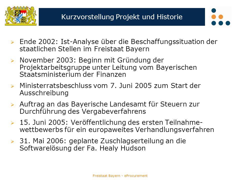 Freistaat Bayern - eProcurement Kurzvorstellung Projekt und Historie Ende 2002: Ist-Analyse über die Beschaffungssituation der staatlichen Stellen im