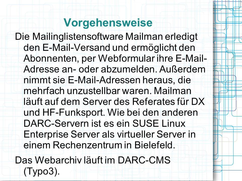 Vorgehensweise Die Mailinglistensoftware Mailman erledigt den E-Mail-Versand und ermöglicht den Abonnenten, per Webformular ihre E-Mail- Adresse an- o