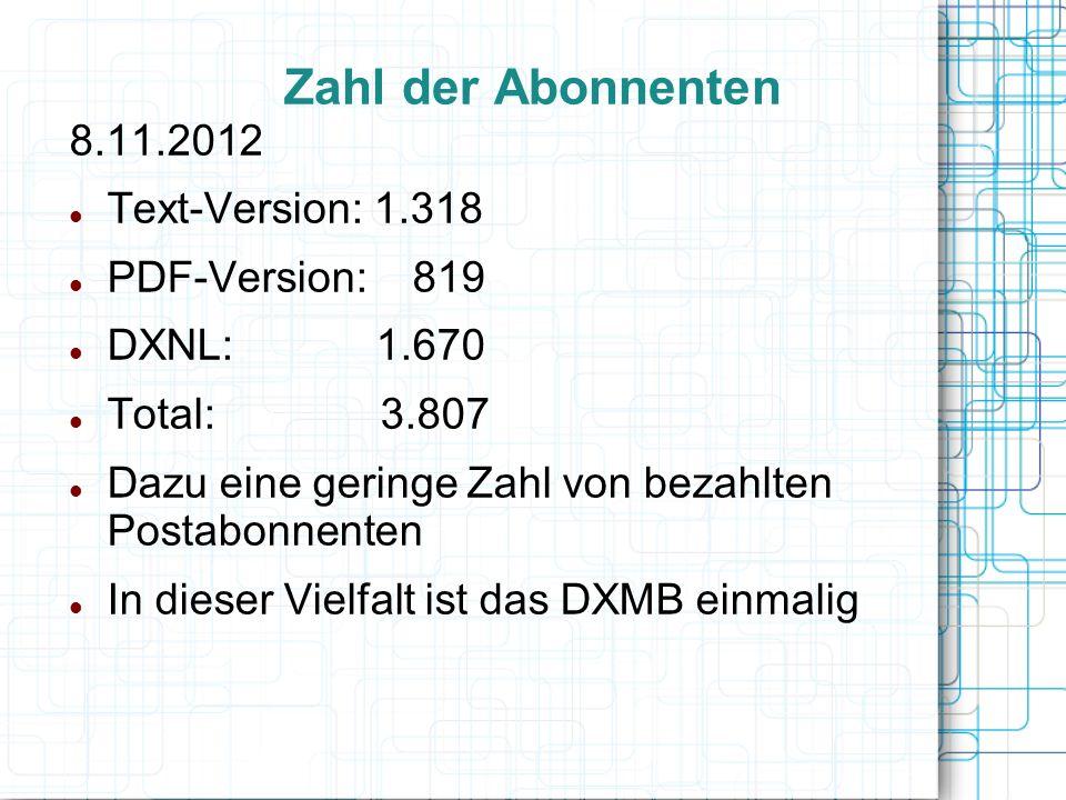 8.11.2012 Text-Version: 1.318 PDF-Version: 819 DXNL: 1.670 Total: 3.807 Dazu eine geringe Zahl von bezahlten Postabonnenten In dieser Vielfalt ist das