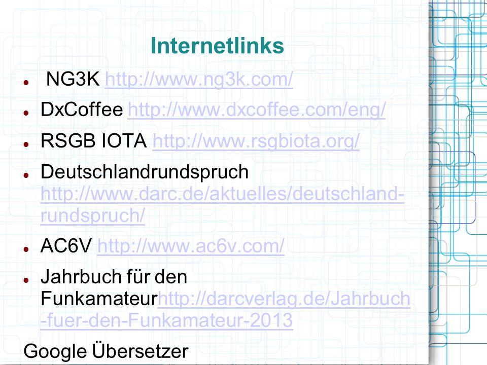 Internetlinks NG3K http://www.ng3k.com/http://www.ng3k.com/ DxCoffee http://www.dxcoffee.com/eng/http://www.dxcoffee.com/eng/ RSGB IOTA http://www.rsg