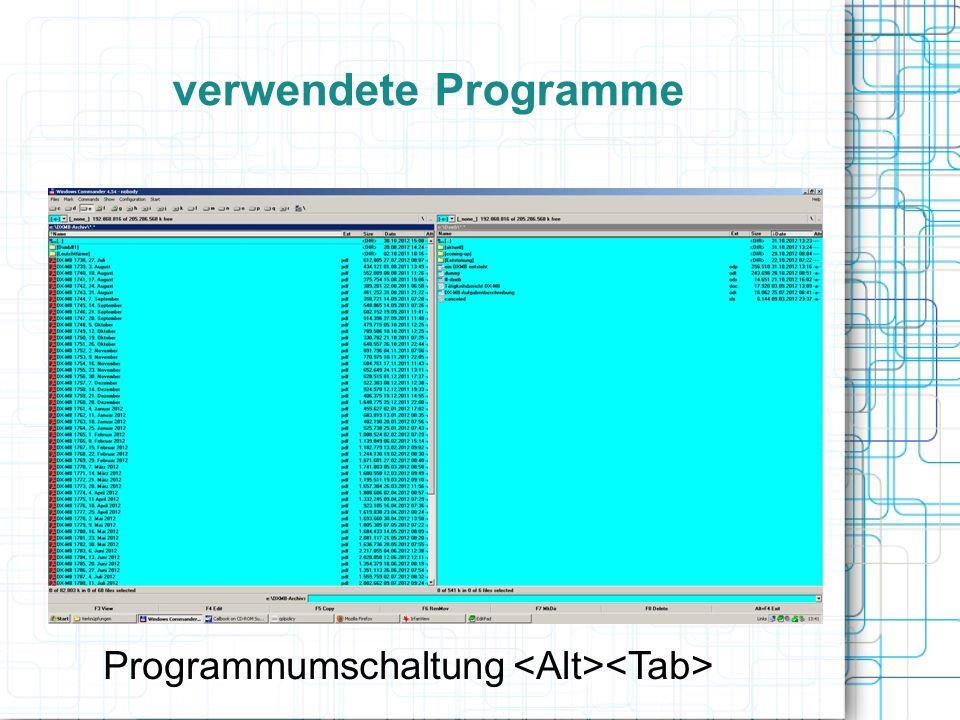 verwendete Programme Programmumschaltung
