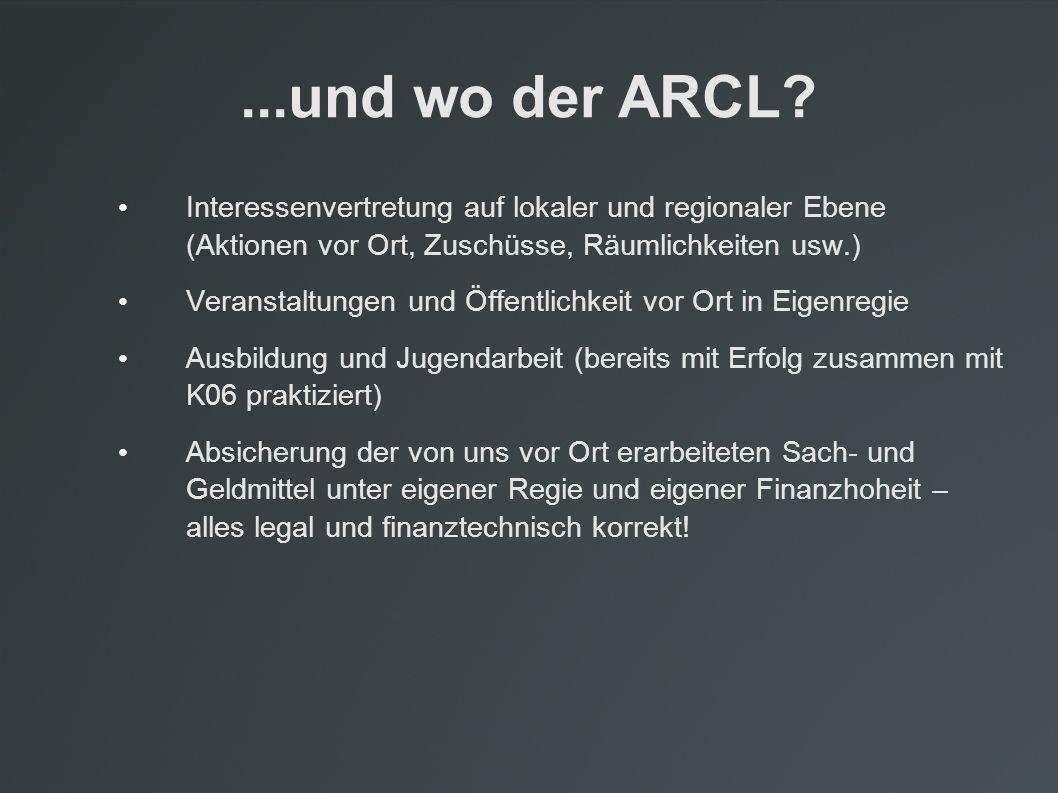 ...und wo der ARCL? Interessenvertretung auf lokaler und regionaler Ebene (Aktionen vor Ort, Zuschüsse, Räumlichkeiten usw.) Veranstaltungen und Öffen