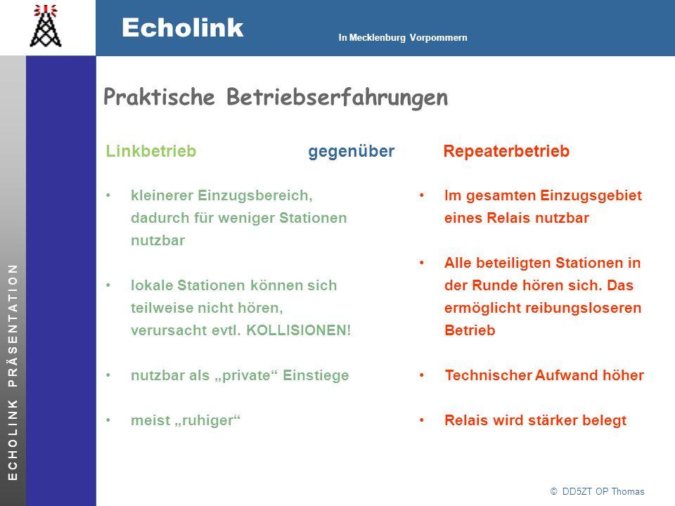 © DD5ZT OP Thomas Echolink In Mecklenburg Vorpommern E C H O L I N K P R Ä S E N T A T I O N Praktische Betriebserfahrungen Linkbetrieb gegenüberRepea
