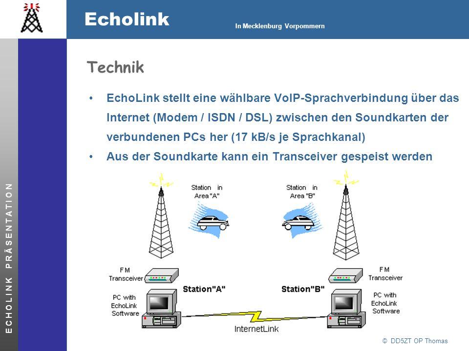 © DD5ZT OP Thomas Echolink In Mecklenburg Vorpommern E C H O L I N K P R Ä S E N T A T I O N Technik EchoLink stellt eine wählbare VoIP-Sprachverbindu