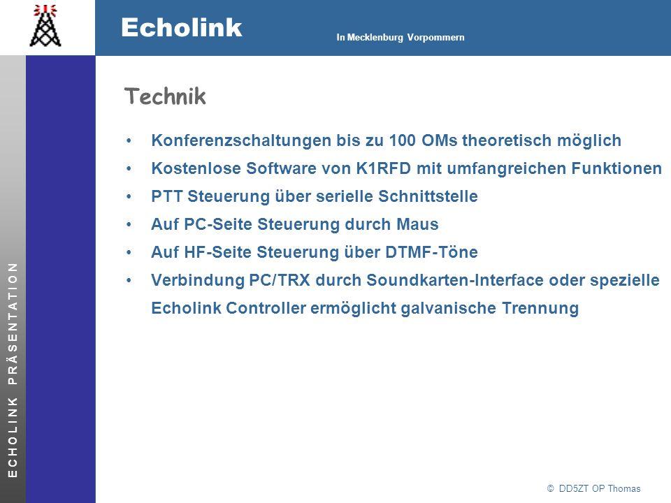 © DD5ZT OP Thomas Echolink In Mecklenburg Vorpommern E C H O L I N K P R Ä S E N T A T I O N Betriebsarten von EchoLink – Single User Mode Ein PC mit Soundkarte stellt eine Verbindung mit einem anderen Single User, einem Link oder einem Repeater her