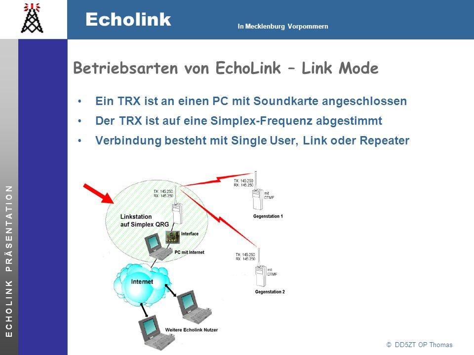 © DD5ZT OP Thomas Echolink In Mecklenburg Vorpommern E C H O L I N K P R Ä S E N T A T I O N Betriebsarten von EchoLink – Link Mode Ein TRX ist an ein