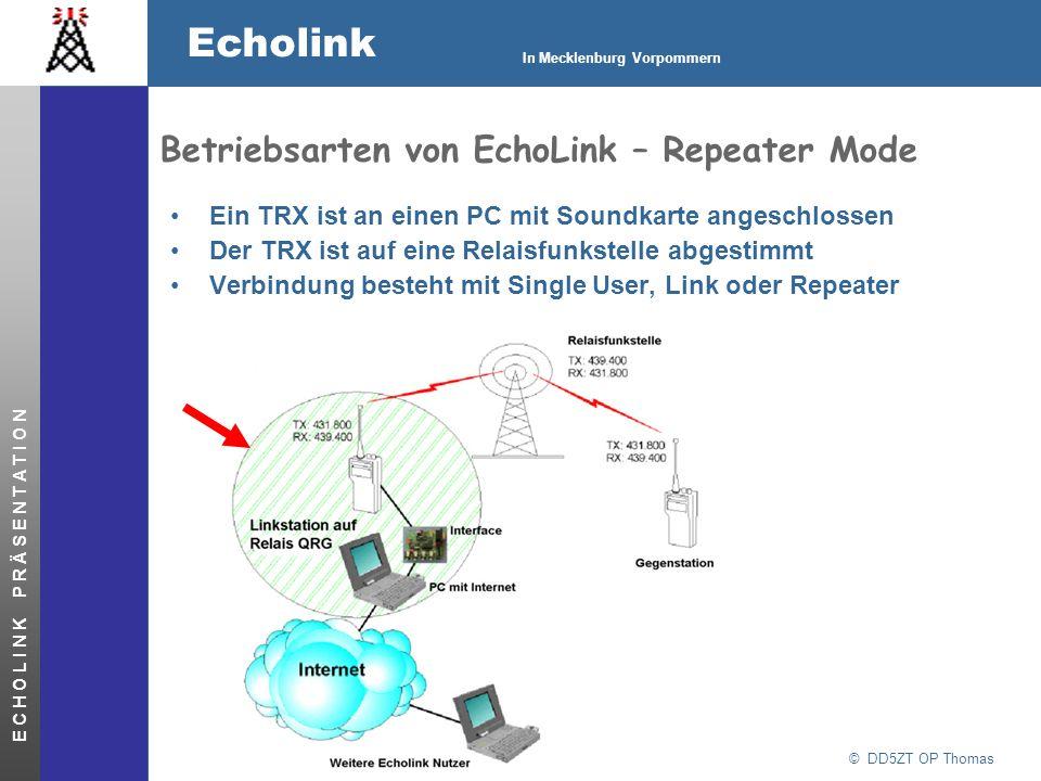 © DD5ZT OP Thomas Echolink In Mecklenburg Vorpommern E C H O L I N K P R Ä S E N T A T I O N Betriebsarten von EchoLink – Repeater Mode Ein TRX ist an