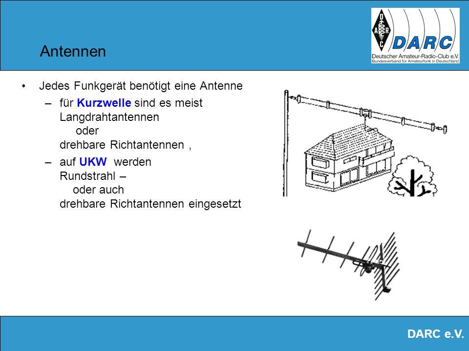 DARC e.V. Geräte für Kurzwelle Kurzwellengeräte –Im Bereich von 1,8 MHz bis 29,7 MHz –Mit Leistungen bis ca. 100 Watt –Stationär oder mobil, auch vom