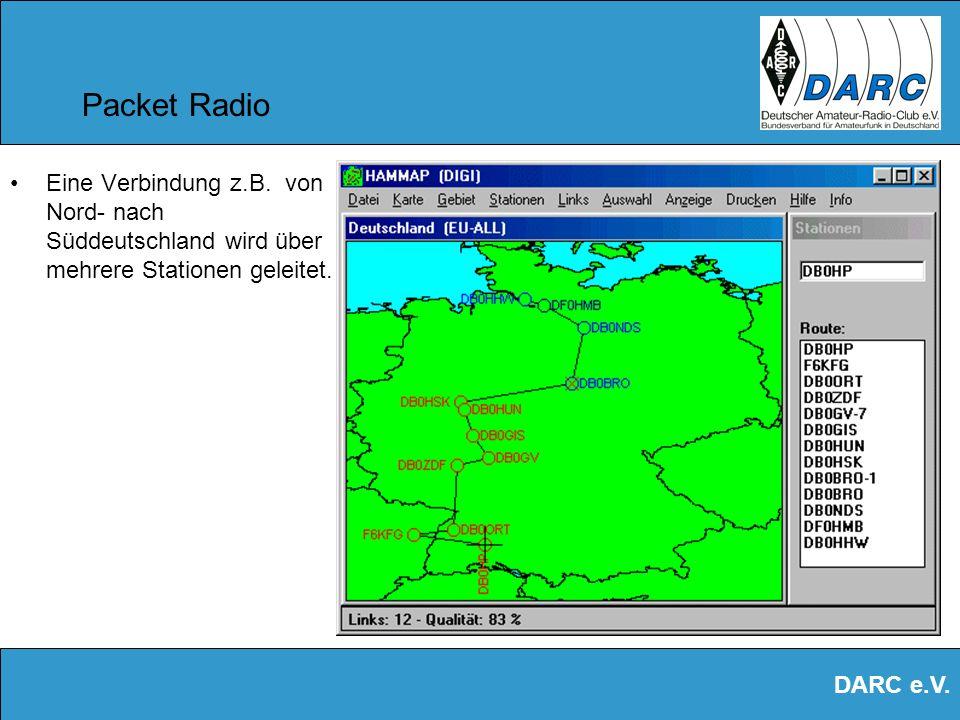 DARC e.V. Packet Radio Ein dichtes Netz umspannt Europa. Spezielle Software zeigt die günstigsten Verbindungen an. Mails werden automatisch weitergele