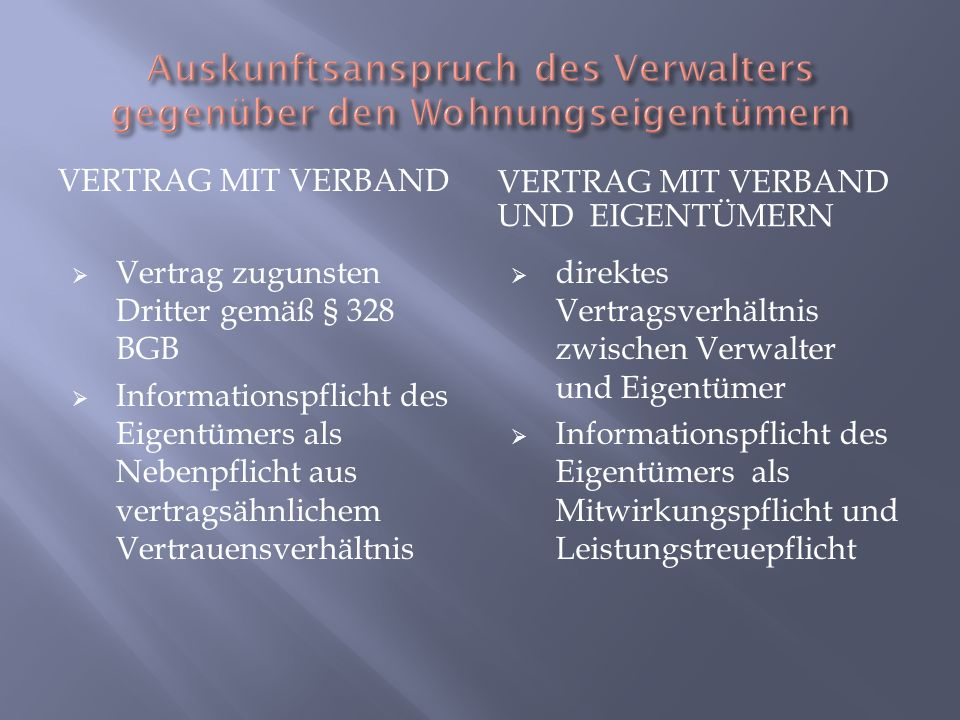 VERTRAG MIT VERBAND VERTRAG MIT VERBAND UND EIGENTÜMERN Vertrag zugunsten Dritter gemäß § 328 BGB Informationspflicht des Eigentümers als Nebenpflicht