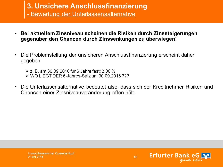 3. Unsichere Anschlussfinanzierung - Bewertung der Unterlassensalternative Immobilienseminar Cornelia Hopf 26.03.2011 10 Bei aktuellem Zinsniveau sche