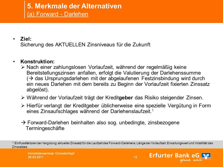 5. Merkmale der Alternativen (a) Forward - Darlehen Immobilienseminar Cornelia Hopf 26.03.2011 12 Ziel: Sicherung des AKTUELLEN Zinsniveaus für die Zu