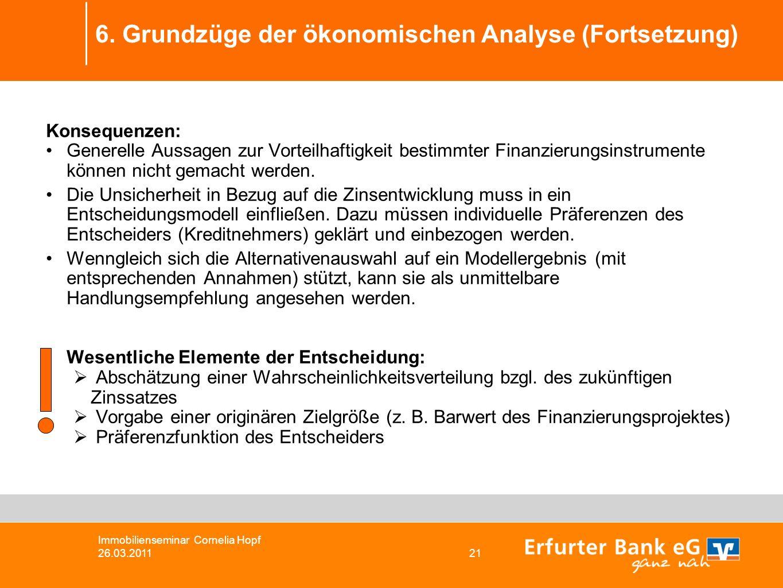 6. Grundzüge der ökonomischen Analyse (Fortsetzung) Immobilienseminar Cornelia Hopf 26.03.2011 21 Konsequenzen: Generelle Aussagen zur Vorteilhaftigke