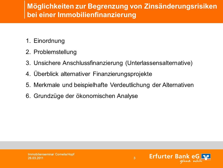 Möglichkeiten zur Begrenzung von Zinsänderungsrisiken bei einer Immobilienfinanzierung 1.Einordnung 2.Problemstellung 3.Unsichere Anschlussfinanzierun