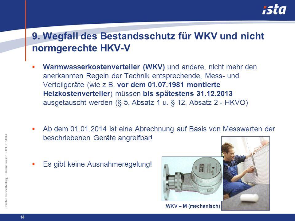 33 57 131 218 71 31 255 153 0 224 237 Erfurter Verwaltertag Karin Kauer 03.03.2009 14 9. Wegfall des Bestandsschutz für WKV und nicht normgerechte HKV