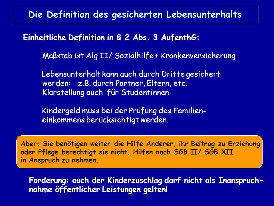 Niederlassungserlaubnis Allg.Voraussetzungen § 9 5 Jahre Aufenthaltserlaubnis gesicherter Lebensunterhalt (Ausnahme: Behinderung) 5 Jahre erwerbstätig (Ausnahmen: in der Ausbildung, Kindererziehung und Pflege werden angerechnet) ausreichend Sprachkenntnisse Kenntnisse der Gesellschaftsordnung Abweichungen u.a.: Flüchtlinge und Angehörige von Deutschen nach 3 Jahren Humanitäre nach 7 Jahren Kinder 16/18 Jahre Hochqualifizierte sofort