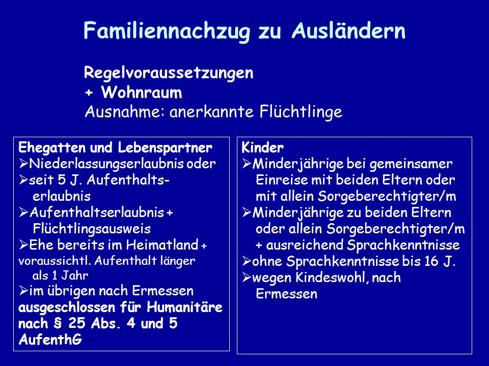 Familiennachzug zu Ausländern Regelvoraussetzungen + Wohnraum Ausnahme: anerkannte Flüchtlinge Ehegatten und Lebenspartner Niederlassungserlaubnis oder seit 5 J.