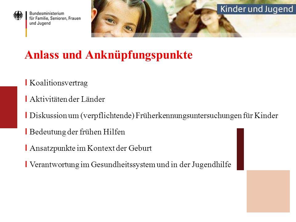 Anlass und Anknüpfungspunkte I Koalitionsvertrag I Aktivitäten der Länder I Diskussion um (verpflichtende) Früherkennungsuntersuchungen für Kinder I B