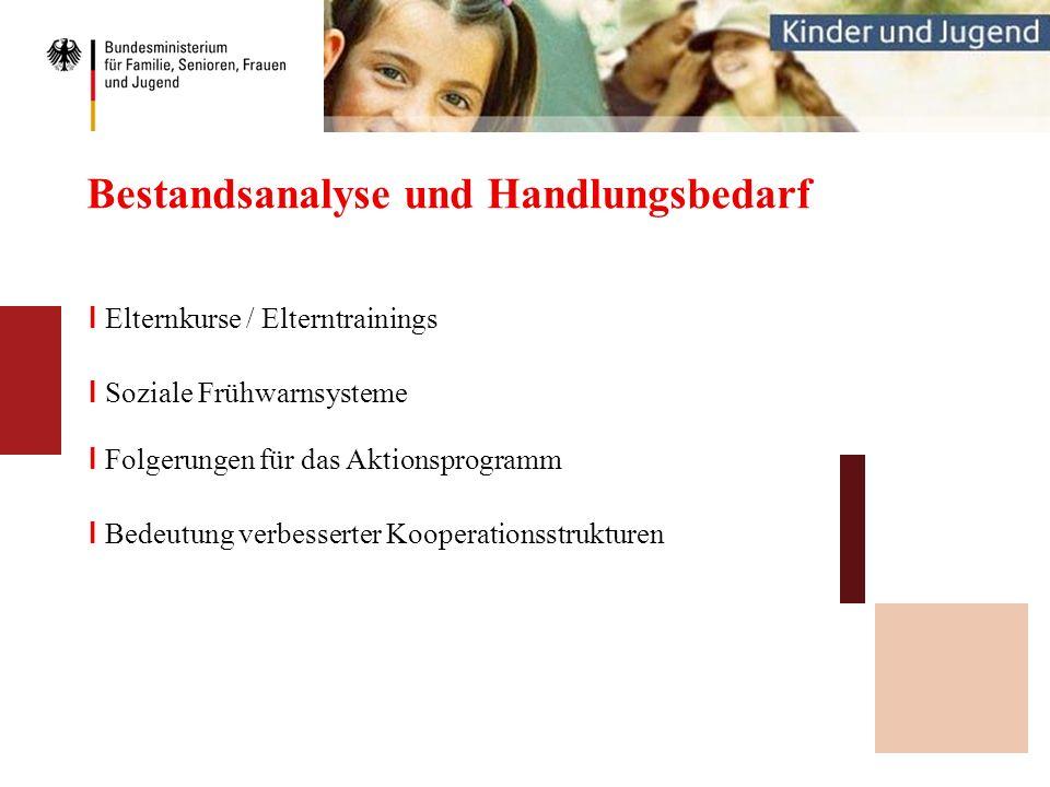 Bestandsanalyse und Handlungsbedarf I Elternkurse / Elterntrainings I Soziale Frühwarnsysteme I Folgerungen für das Aktionsprogramm I Bedeutung verbes