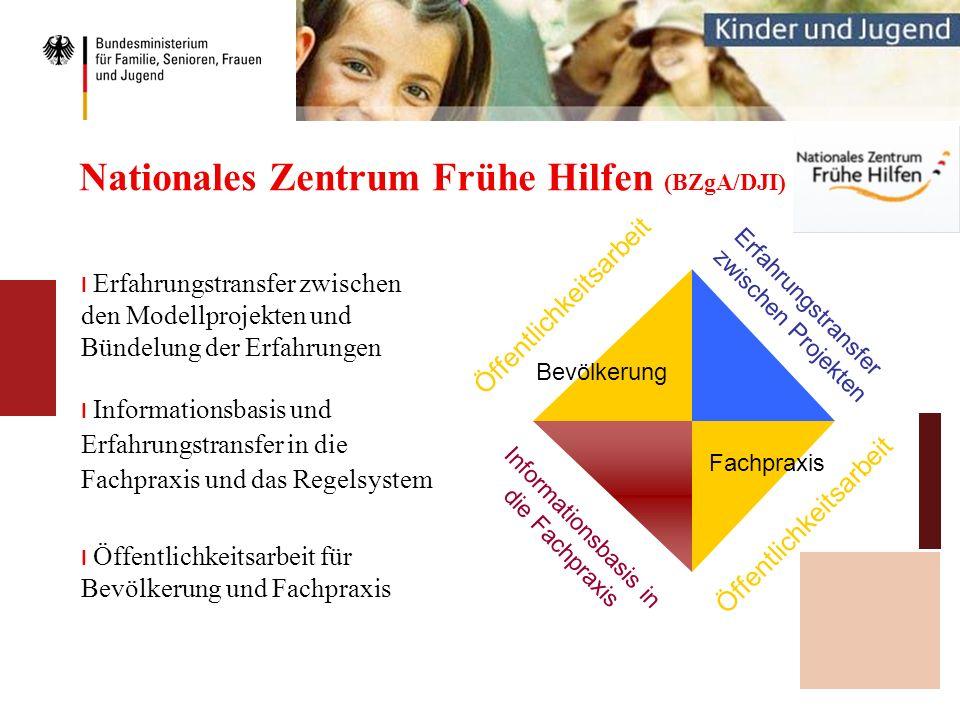 Nationales Zentrum Frühe Hilfen (BZgA/DJI) I Erfahrungstransfer zwischen den Modellprojekten und Bündelung der Erfahrungen I Informationsbasis und Erf