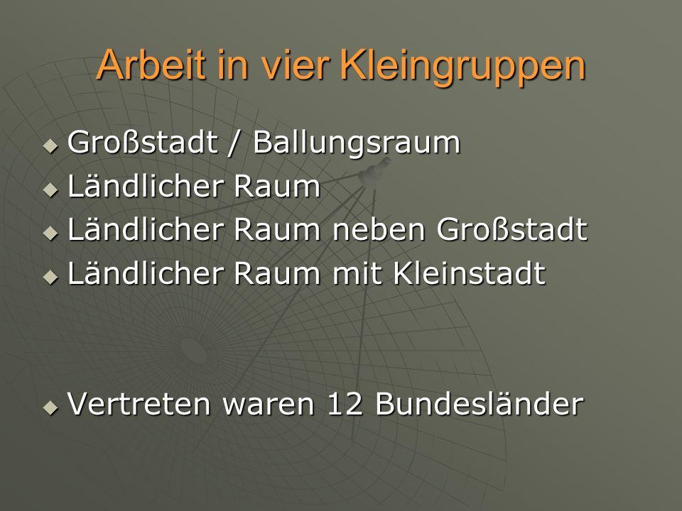 Arbeit in vier Kleingruppen Großstadt / Ballungsraum Großstadt / Ballungsraum Ländlicher Raum Ländlicher Raum Ländlicher Raum neben Großstadt Ländlich