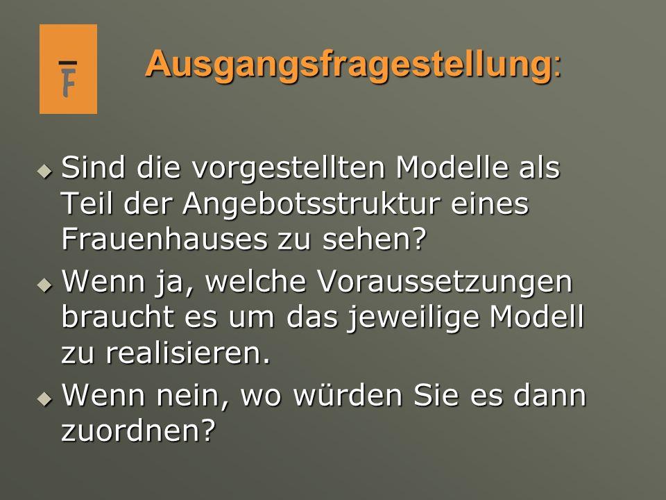 Ausgangsfragestellung: Sind die vorgestellten Modelle als Teil der Angebotsstruktur eines Frauenhauses zu sehen? Sind die vorgestellten Modelle als Te