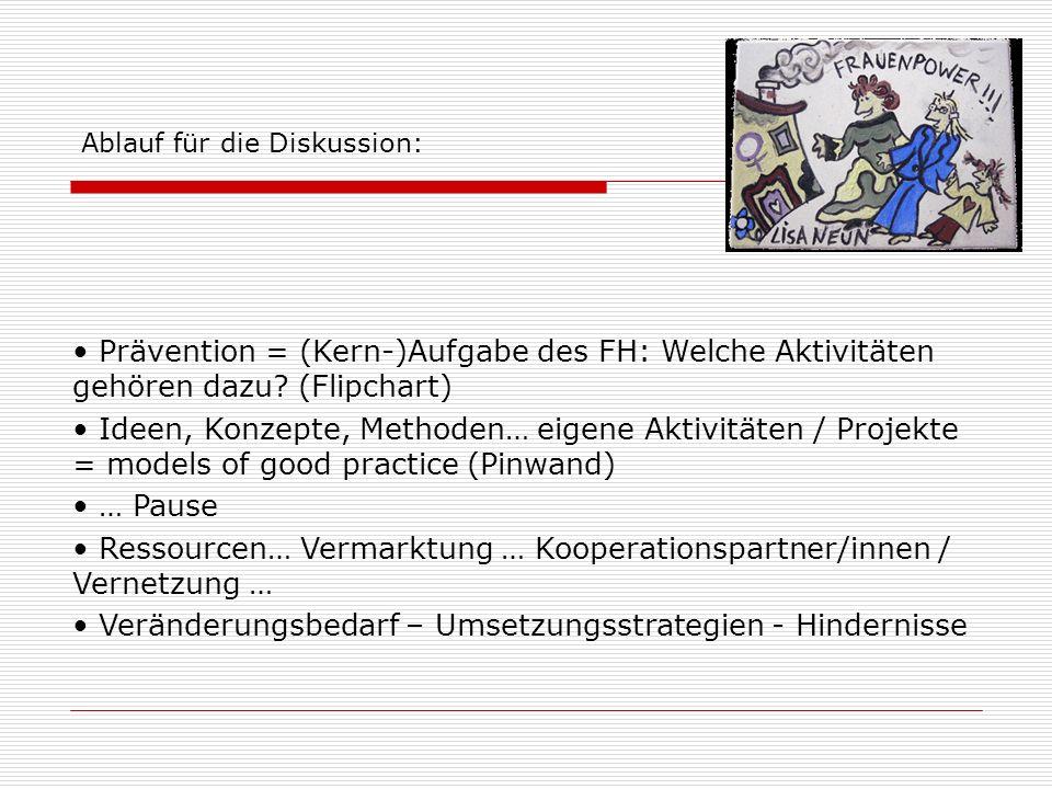 Prävention = (Kern-)Aufgabe des FH: Welche Aktivitäten gehören dazu? (Flipchart) Ideen, Konzepte, Methoden… eigene Aktivitäten / Projekte = models of