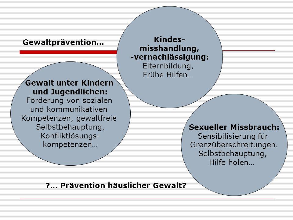 Kindes- misshandlung, -vernachlässigung: Elternbildung, Frühe Hilfen… Gewalt unter Kindern und Jugendlichen: Förderung von sozialen und kommunikativen