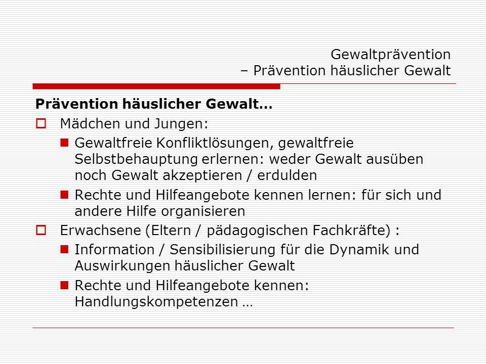 Prävention häuslicher Gewalt in der Schule - Ergebnisse der Bund-Länder-AG: 1: Es gibt bereits Ansatzpunkte… Große Vielfalt im Hinblick auf Zielgruppen und Formate der Angebote (Projekttage, Unterrichtseinheiten, Fobi…) … Materialien / Flyer / Ausstellungen Aber: überwiegend Einzelaktivitäten, wenig systematische Verankerung