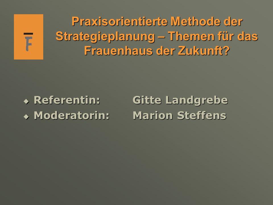 Praxisorientierte Methode der Strategieplanung – Themen für das Frauenhaus der Zukunft.