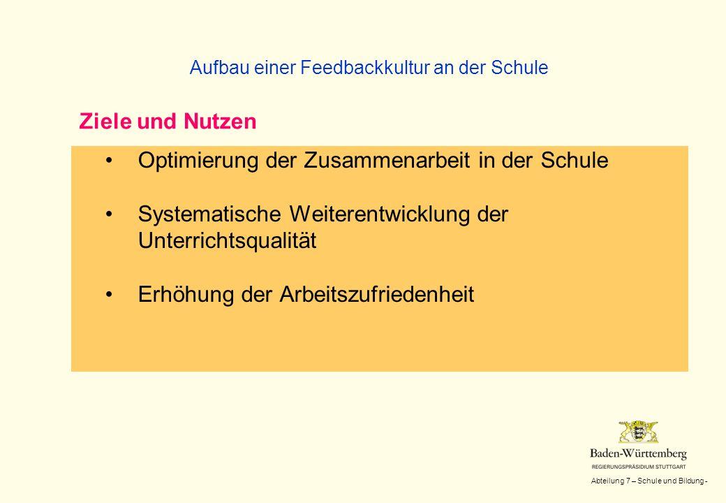 Abteilung 7 – Schule und Bildung - Optimierung der Zusammenarbeit in der Schule Systematische Weiterentwicklung der Unterrichtsqualität Erhöhung der A