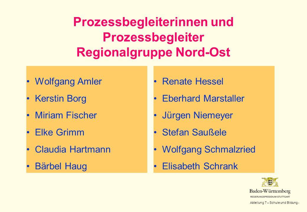 Abteilung 7 – Schule und Bildung - Prozessbegleiterinnen und Prozessbegleiter Regionalgruppe Nord-Ost Wolfgang Amler Kerstin Borg Miriam Fischer Elke