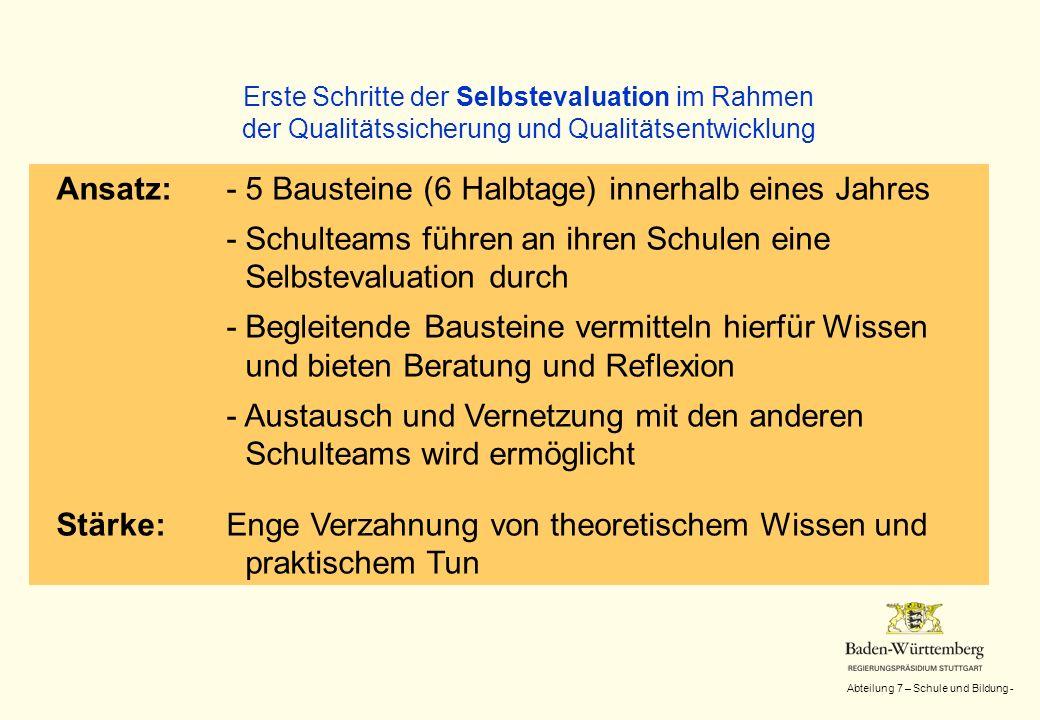 Abteilung 7 – Schule und Bildung - Erste Schritte der Selbstevaluation im Rahmen der Qualitätssicherung und Qualitätsentwicklung Inhalte (Ein Beispiel