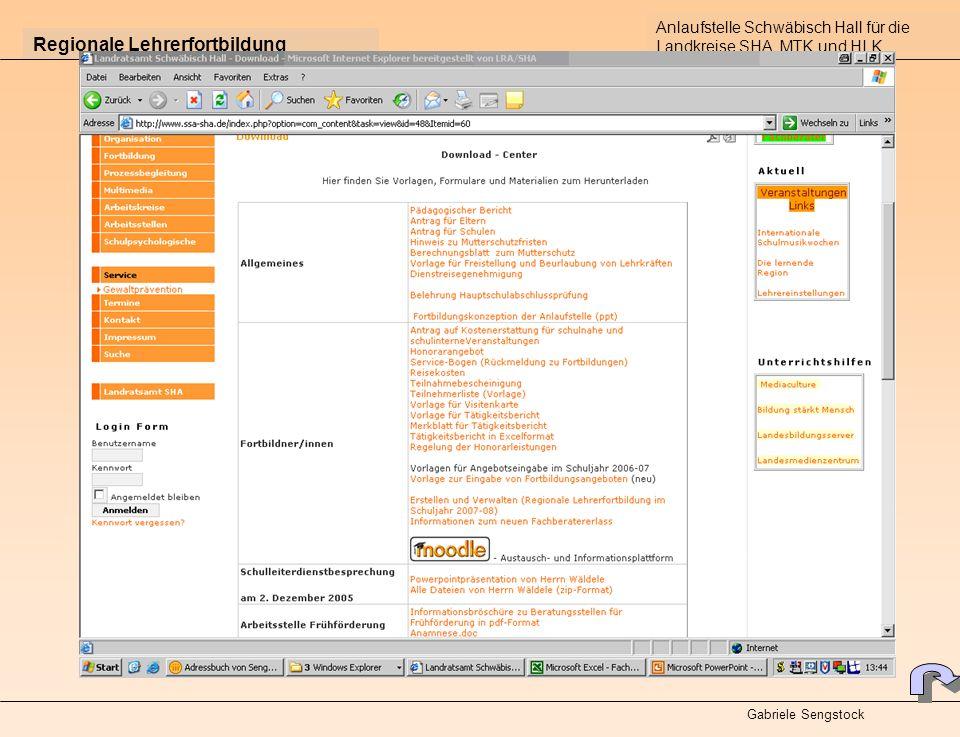 Regionale Lehrerfortbildung Anlaufstelle Schwäbisch Hall für die Landkreise SHA, MTK und HLK Gabriele Sengstock Kataloge im Internet