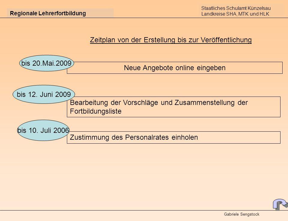 Regionale Lehrerfortbildung Zeitplan von der Erstellung bis zur Veröffentlichung Neue Angebote online eingeben Bearbeitung der Vorschläge und Zusammenstellung der Fortbildungsliste bis 20.Mai.2009 bis 12.