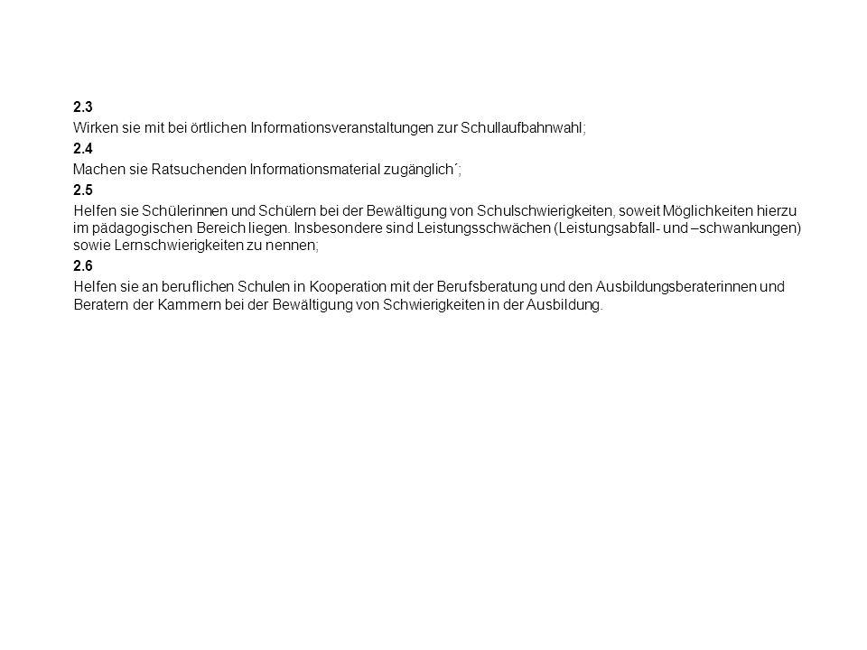 Formale Rahmenbedingungen der Bildungsberatung 1.