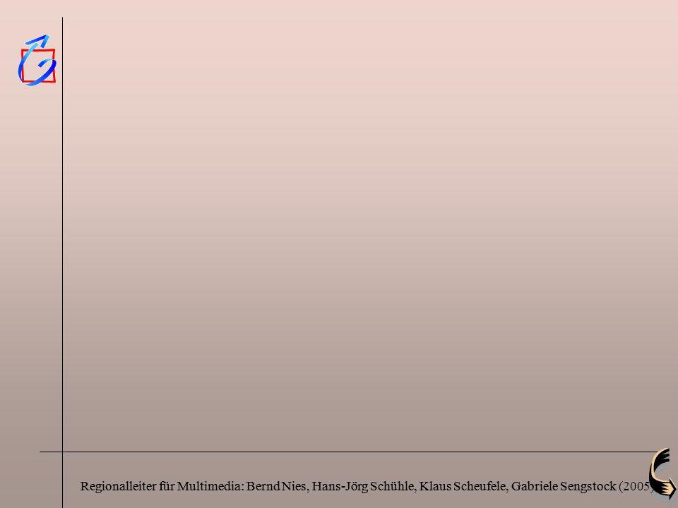 Regionalleiter für Multimedia: Bernd Nies, Hans-Jörg Schühle, Klaus Scheufele, Gabriele SengstockRegionalleiter für Multimedia: Bernd Nies, Hans-Jörg Schühle, Klaus Scheufele, Gabriele Sengstock (2005)
