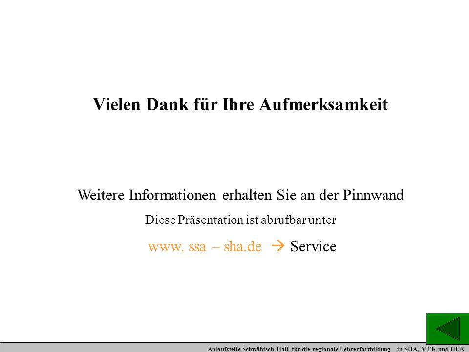 Vielen Dank für Ihre Aufmerksamkeit Weitere Informationen erhalten Sie an der Pinnwand Diese Präsentation ist abrufbar unter www. ssa – sha.de Service
