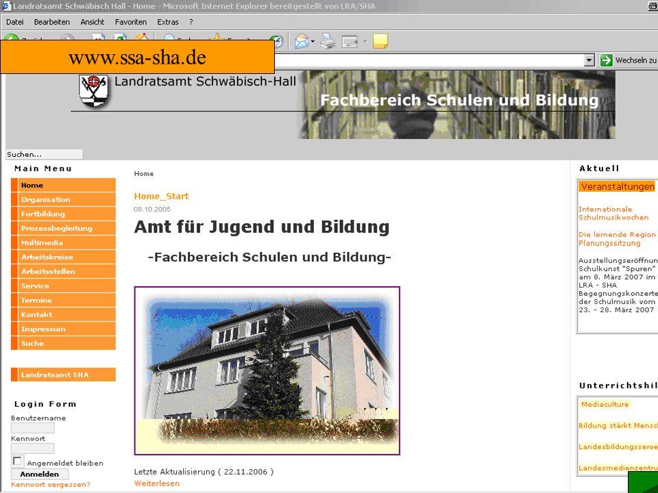 Zentrale Plattform Anlaufstelle Schwäbisch Hall für die regionale Lehrerfortbildung in SHA, MTK und HLK www.ssa-sha.de