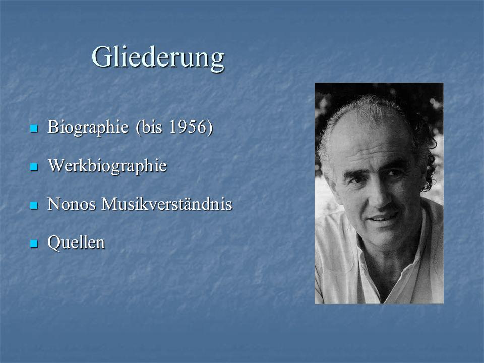 Gliederung Biographie (bis 1956) Biographie (bis 1956) Werkbiographie Werkbiographie Nonos Musikverständnis Nonos Musikverständnis Quellen Quellen