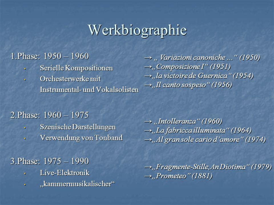 Werkbiographie 1.Phase: 1950 – 1960 Serielle Kompositionen Serielle Kompositionen Orchesterwerke mit Orchesterwerke mit Instrumental- und Vokalsoliste